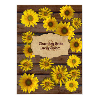 Yellow Sunflower Drifts Wood Wedding Invitation