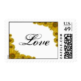 Yellow Sunflower Edge Love Wedding Stamp