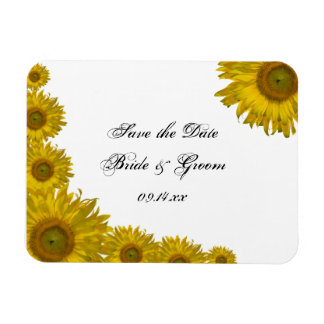 Yellow Sunflower Edge Wedding Save the Date Magnet