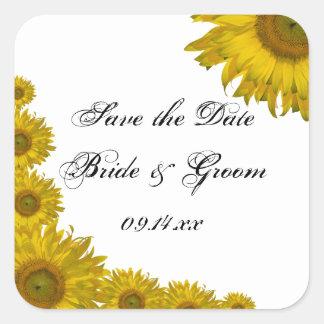 Yellow Sunflower Edge Wedding Save the Date Square Sticker