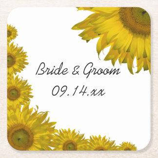 Yellow Sunflower Edge Wedding Square Paper Coaster