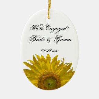 Yellow Sunflower Engagement Oval Photo Ornament