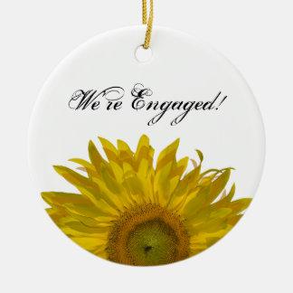 Yellow Sunflower Engagement Round Ornament