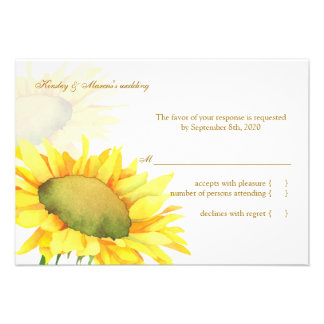 Yellow Sunflower Fall Wedding RSVP (3.5x5) Invites