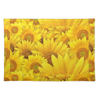 Yellow Sunflower Fields Cloth Placemat