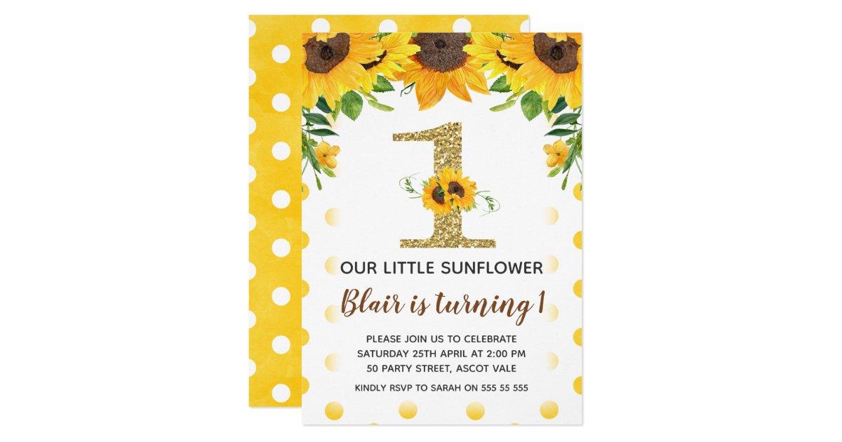 Yellow Sunflower First Birthday Invitation Girl | Zazzle.com