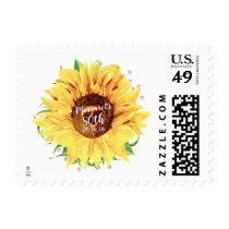Yellow Sunflower Floral 80th Birthday Postage