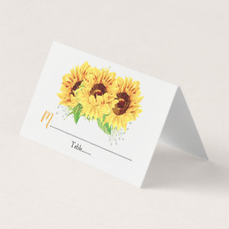 Yellow Sunflower Floral Wedding Place Card