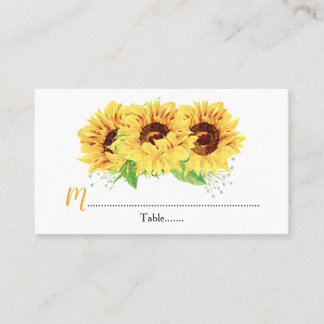 Yellow Sunflower Floral Wedding Place Cards