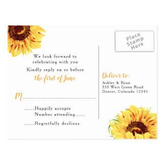 Yellow Sunflower Floral Wedding RSVP Postcard