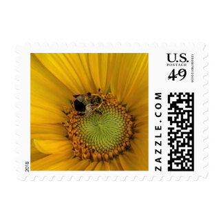 Yellow Sunflower Flower Bee Postage Stamps