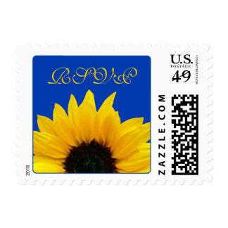 Yellow Sunflower Flower Cobalt Blue Wedding RSVP Postage