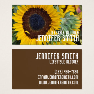 Yellow Sunflower Flower Floral Garden Nature Photo Business Card