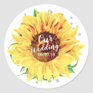 Yellow Sunflower Flower Floral Wedding Watercolor Classic Round Sticker