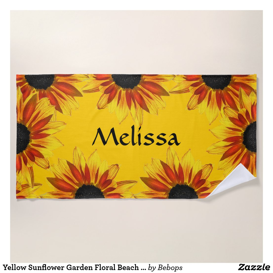 Yellow Sunflower Garden Floral Beach Towel