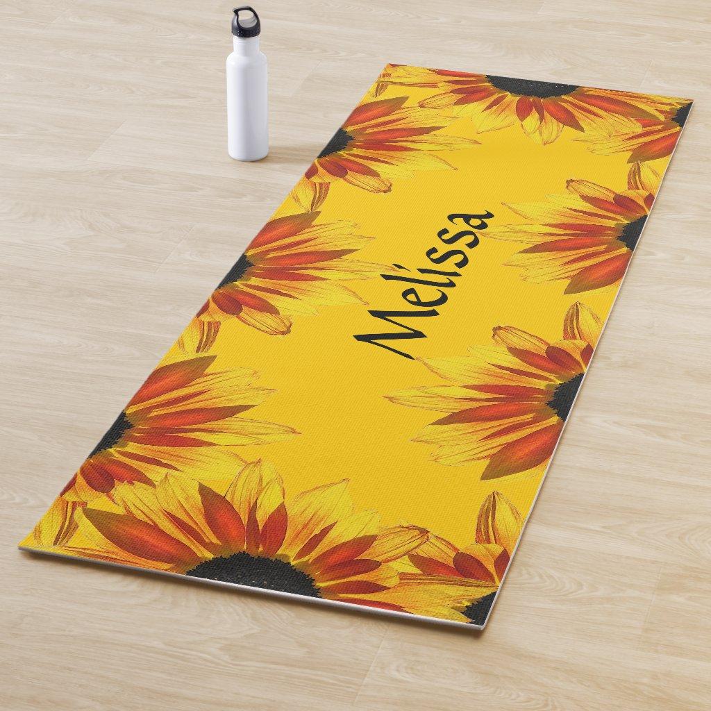 Yellow Sunflower Garden Floral Yoga Mat