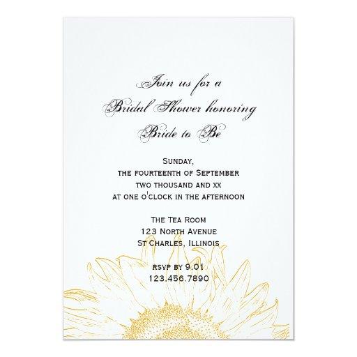 Yellow Sunflower Graphic Bridal Shower Card