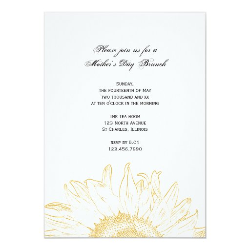 Yellow Sunflower Graphic Mother's Day Brunch Card