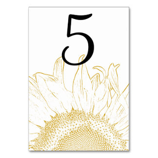 Yellow Sunflower Graphic Table Numbers