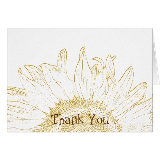 Yellow Sunflower Graphic Thank You Card