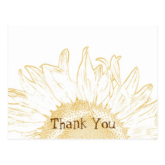 Yellow Sunflower Graphic Thank You Postcard