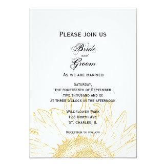 Yellow Sunflower Graphic Wedding Card