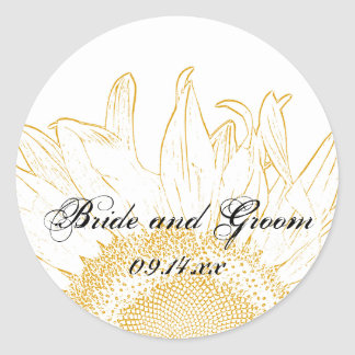 Yellow Sunflower Graphic Wedding Envelope Seals