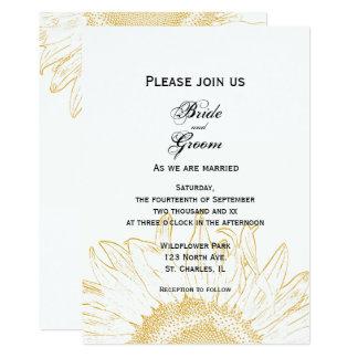 Yellow Sunflower Graphic Wedding Invitation