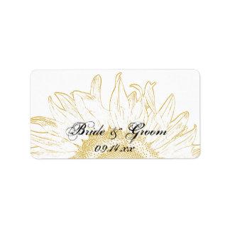 Yellow Sunflower Graphic Wedding Label