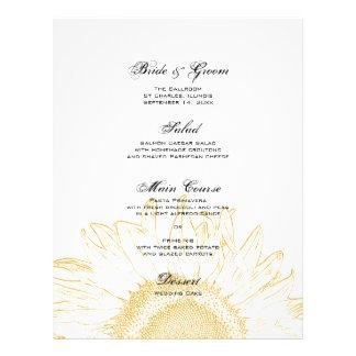 Yellow Sunflower Graphic Wedding Menu Flyer Design