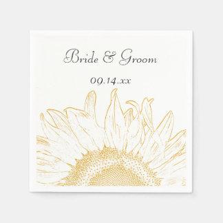 Yellow Sunflower Graphic Wedding Napkin