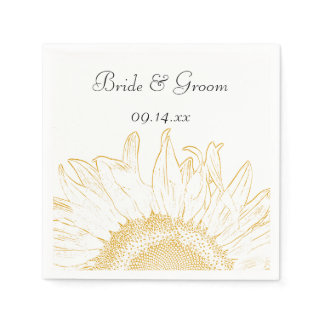 Yellow Sunflower Graphic Wedding Napkin