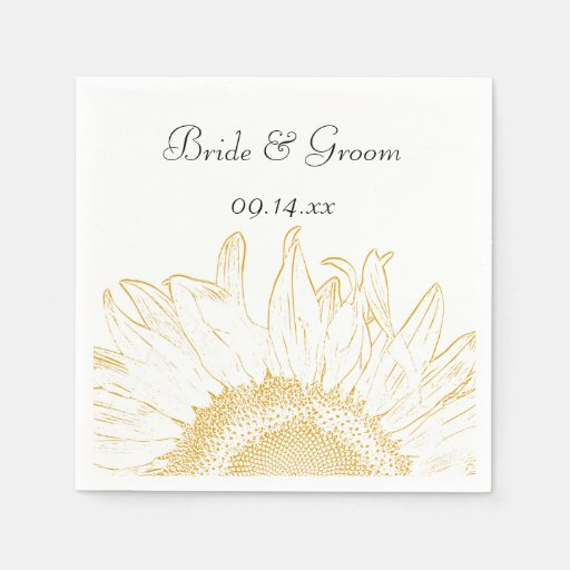 Yellow Sunflower Graphic Wedding Paper Napkins