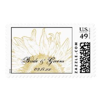 Yellow Sunflower Graphic Wedding Stamp