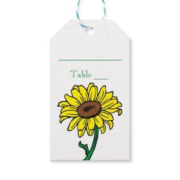 Beach Themed Yellow Sunflower Green Wedding Escort Place Card Gift Tags