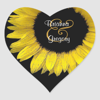 Yellow Sunflower Heart Shaped Envelope Seal