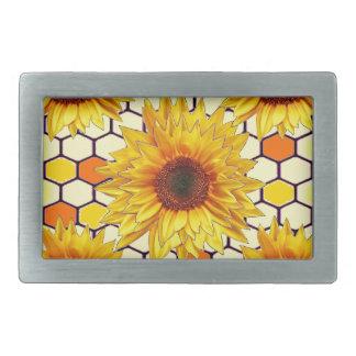 Yellow Sunflower Honey Comb Design Belt Buckle