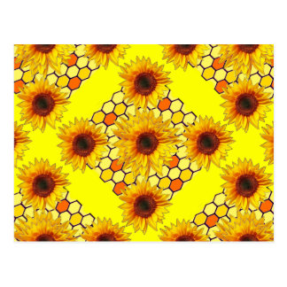 Yellow Sunflower Honey Comb Design Postcard
