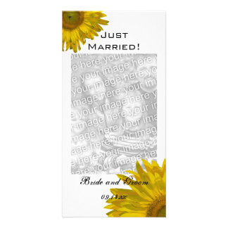 Yellow Sunflower Just Married Photo Card