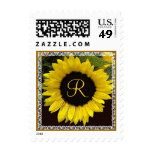 Yellow Sunflower Lace Wedding Monogram Stamp