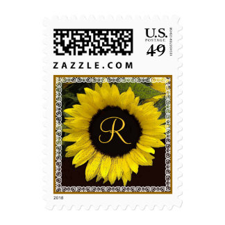Yellow Sunflower Lace Wedding Monogram Stamp