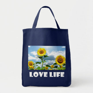 Yellow Sunflower Life Attitude, Happiness  Quote Tote Bag