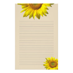 Yellow Sunflower Lined Personal Writing Paper at Zazzle