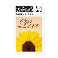 Yellow sunflower love floral postage stamps