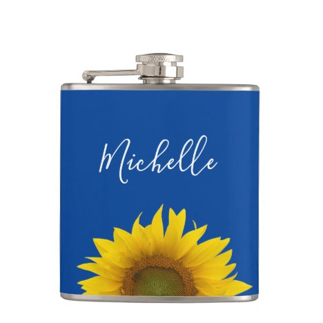 Yellow Sunflower Monogram Blue Elegant Script Flask