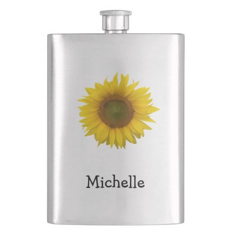 Yellow Sunflower Monogram Floral Country Flask