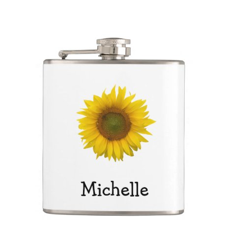 Yellow Sunflower Monogram Personalized Floral Flask