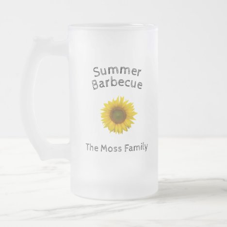 Yellow Sunflower Monogram Summer Barbecue Frosted Glass Beer Mug