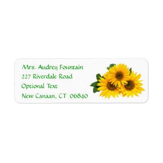 Yellow Sunflower Name Address Return Mailing Label Return Address Label
