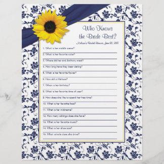 Yellow Sunflower Navy Blue Bridal Shower Game